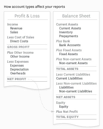 layout of Xero financial reports